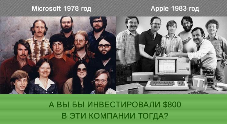 Инвестирование в акции Microfoft и Apple на их старте